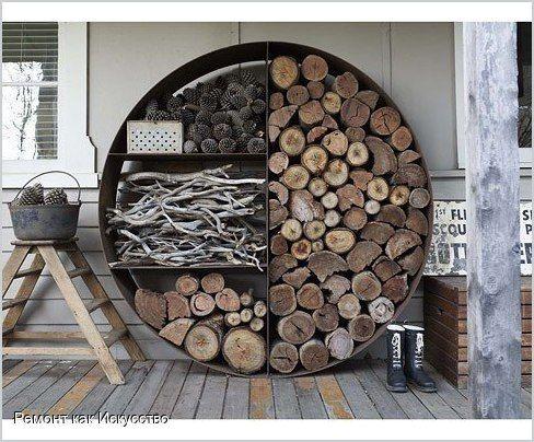 Креативное место для хранения дров.