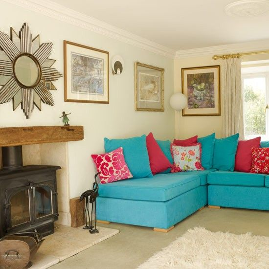 inspiring red turquoise living room | Red/Turquoise Living Room | wood burner ideas | Pinterest