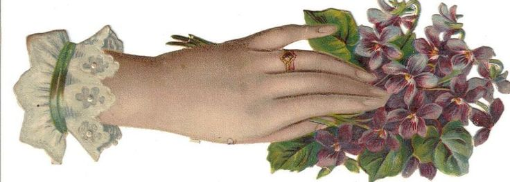 Larger Victorian Die Cut Scrap Lady s Hand w Violets c1880s