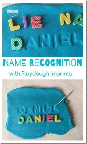 Name Recognition activity for toddler, preschool, and kindergarten age kids using playdough imprints (kids activities)
