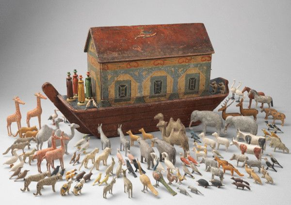 Robert Young Antiques - Folk Art Collection. Remarkable Early Noah's Ark with Original Animals #FolkArt