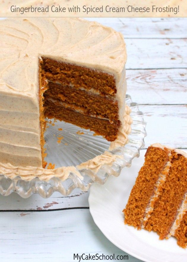 Delicious Scratch Gingerbread Cake with Spiced Cream Cheese Frosting!