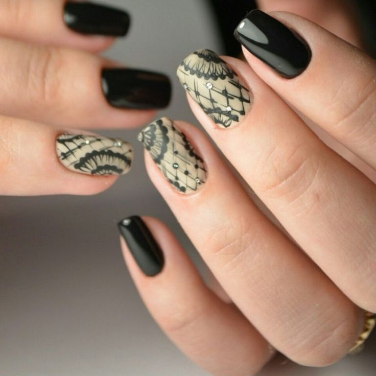 Beautiful evening nails, Black glossy nails, Evening dress nails, Evening nails, Lacy nails, Matte nails with glossy pattern, Original nails, ring finger nails