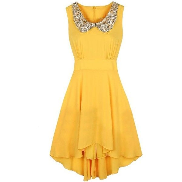 Yellow Sleeveless Sequined High Low Waist Dress US$31.48 The Tres Chic ❤ liked on Polyvore featuring dresses, waist dress, sequin dress, short and long dresses, yellow high low dress and mullet dress