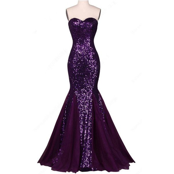 Purple Sparkly Trumpet Mermaid Sweetheart Chiffon Sequined Floor... ($139) ❤ liked on Polyvore featuring dresses, long dresses, purple dress, chiffon prom dresses, purple sequin dress and long prom dresses