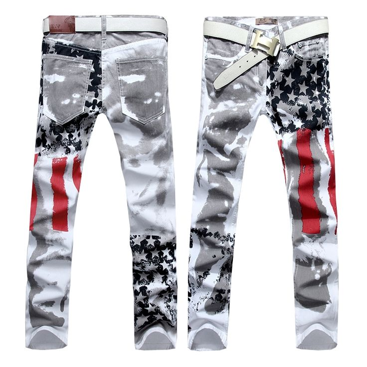 32.24$  Watch now - http://aliyl4.worldwells.pw/go.php?t=32229923187 - Hot sale free shipping slim fit men jeans pants us flag printed denim trousers asian size 28 29 30 31 32 33 34 36