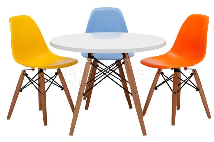 Replica Charles Eames Childrens Chairs with Childrens Table.  Other seat colours include white, black and red.