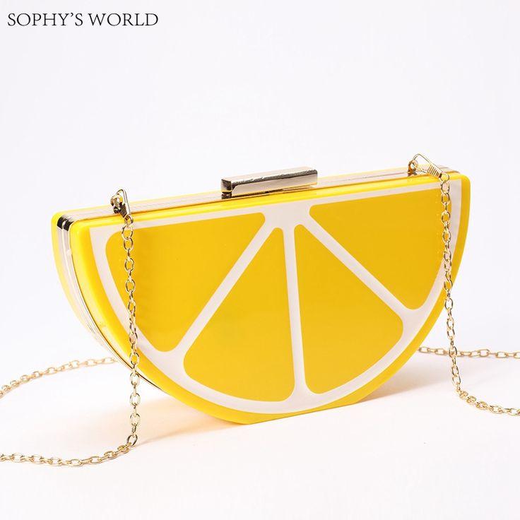 Lovely Fruit Women's Handbags Acrylic Clutch Evening Bags For Women Coloful Watermelon Lemon Purse Chains Messenger Little Bag