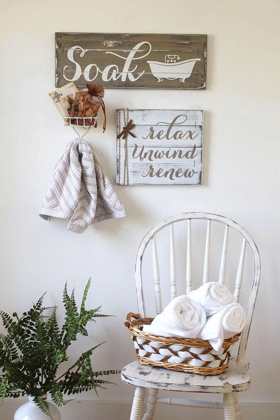 """This rustic """"soak"""" bathroom decor would look great in a farmhouse style home. #r… – Home Decor Ideas"""