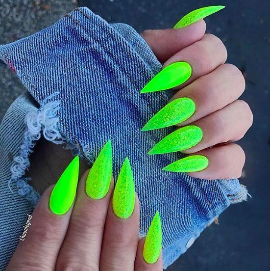 @chaunlegend Limone Green Stiletto Nails #nailsart #nails