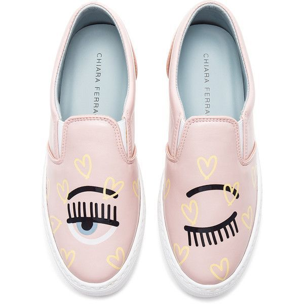 Chiara Ferragni Candy Flirting Slip On (€240) ❤ liked on Polyvore featuring shoes, sneakers, flats, patent leather sneakers, slip-on sneakers, slip on flats, chiara ferragni shoes and slip on sneakers