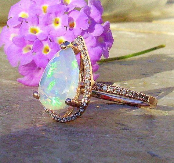 Yellow Blue Color Play Opal Red Size 10 Black Welo Opal Ring Natural Ethiopian Opal Rose GoldSterling Silver CZ Halo Green