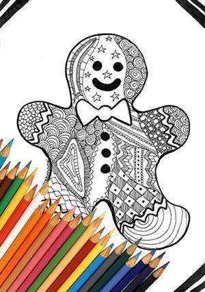 Omino pan di zenzero natale pagina da colorare stampabile disegno zentangle biscotto download istantaneo bianco e nero natale ragazzi adulti