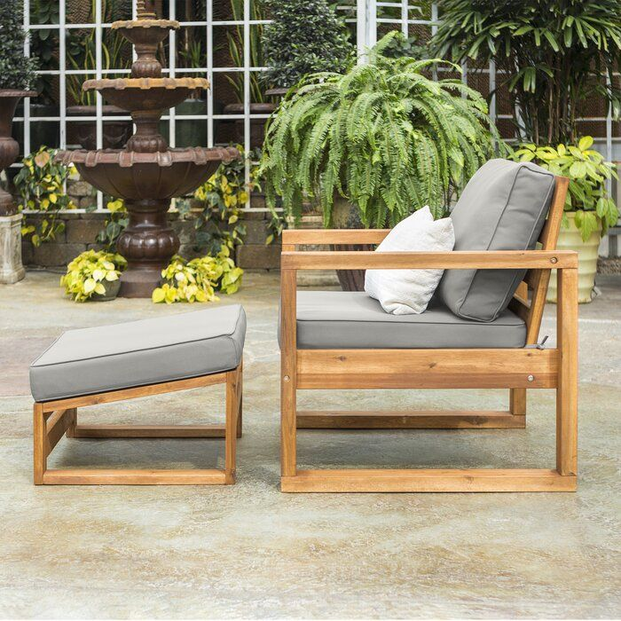 Lydon Patio Chair With Cushion And Ottoman Rustic Outdoor Furniture Teak Patio Furniture Diy Outdoor Furniture
