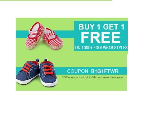 Firstcry is offering Buy One Get one free on Kids Footwear How to catch the offer: Click here for offer page Add Kids Footwearin your cart Apply offer code B1G1FTWR Login or Register Fill the shipping details Make final payment
