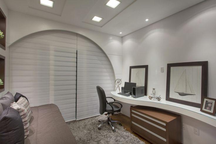 Home Office, bancada laca, Sofá Cama, branco, bege, marrom