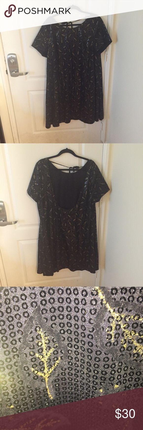 Sparkly Asos Dress Cute loose fitting dress with sequin details and gold leaf design. Never worn! ASOS Curve Dresses