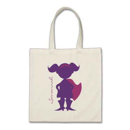 Superhero Girl Silhouette Personalized Purple Tote Bag