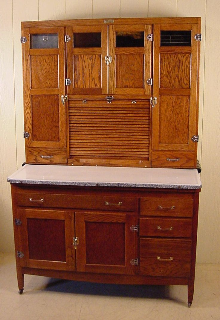 "Primitive Hoosier Cabinets for Sale | Oak Hoosier style Cabinet - signed ""McDougall"""