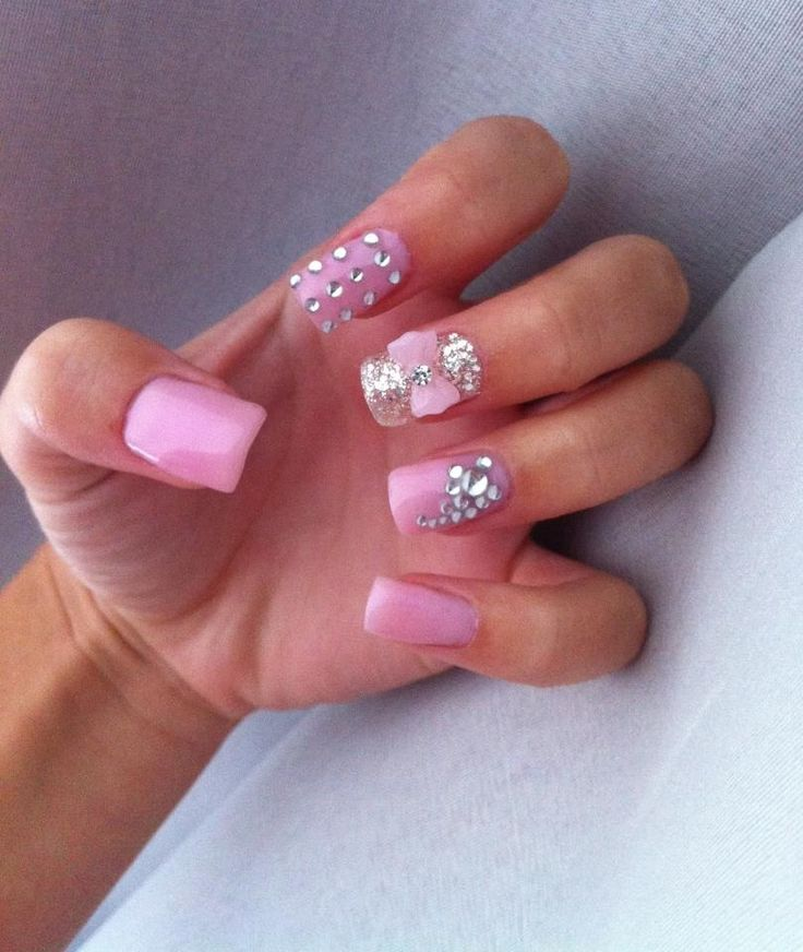 Pink Gel Nails With Diamante.....how Would You Do Anything