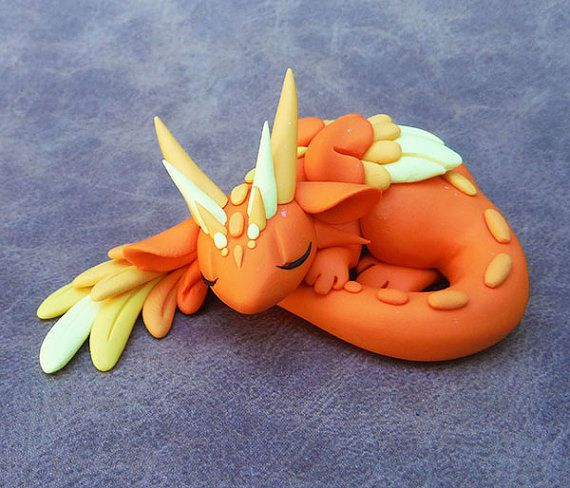 Orange Angel Dragon by DragonsAndBeasties on Etsy