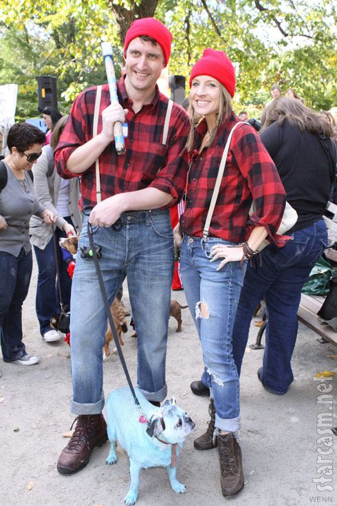 Paul Bunyan Halloween costumes complete with Babe the Blue Ox dog costume