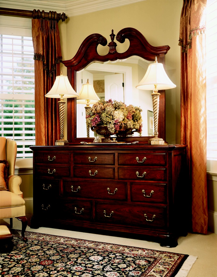Cherry Grove Collection 45th   DRAWER DRESSER With SCALLOPED MIRROR With  FINIAL #AmericanDrew #furniture