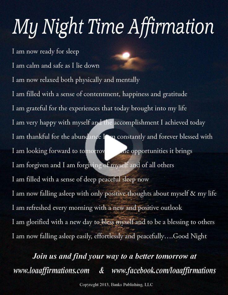 Night Time Affirmtions Yoga Quotes Namaste Night Time Facebook Image