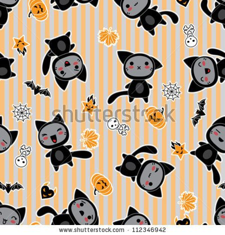 Vector kawaii background of Halloween-related objects and creatures. by Incomible, via ShutterStock