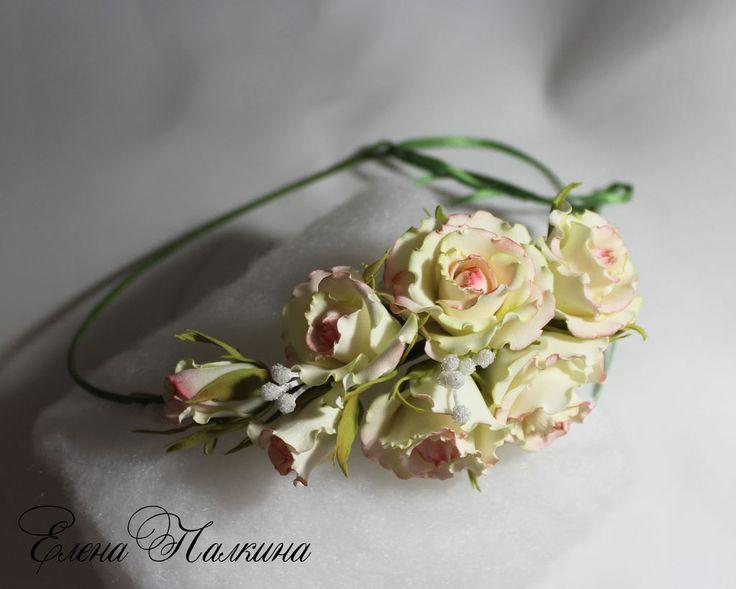 """Купить Венок """"Наталия"""". Свадебный венок. Розы - белый, розовый, светло-зеленый, венок с цветами"""