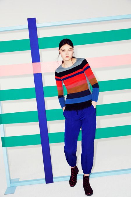 Striped Sweater and Blue Silk Sweatpants - Sonia by Sonia Rykiel | Fall 2014 Ready-to-Wear Collection | Style.com