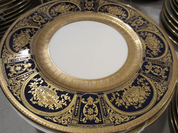 Fabulous set of royal Doulton made for Tiffany cobalt with profuse gilding dinner plate