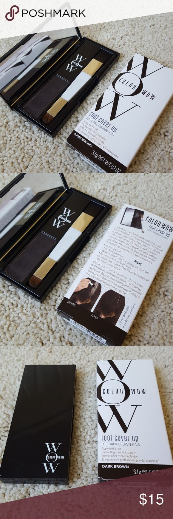 Wow Root Cover Up for dark brown hair Wow Root Cover Up for dark brown hair. Water - resistant lasting from shampoo to shampoo. Goes on like eyeshadow or brow fill-in. Comes from a smoke- and pet-free home. Wow Makeup Brushes & Tools