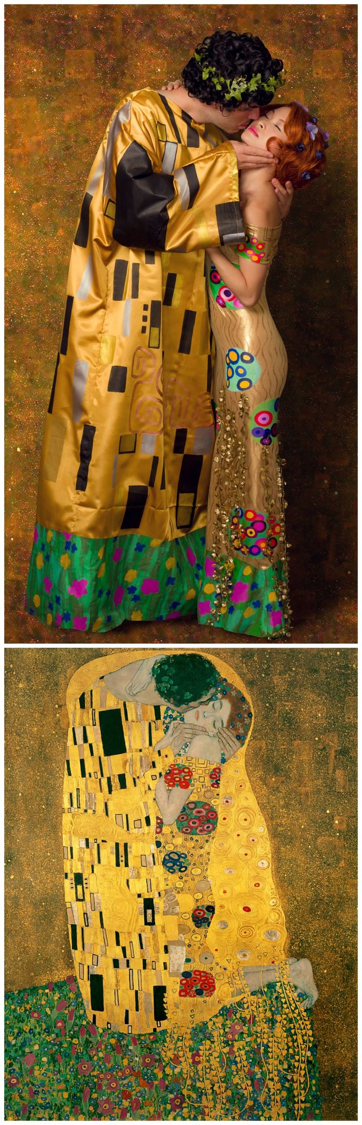 "Recreation of Gustav Klimt's painting ""The Kiss"" / Halloween Costume #couple #halloween #costume #idea"