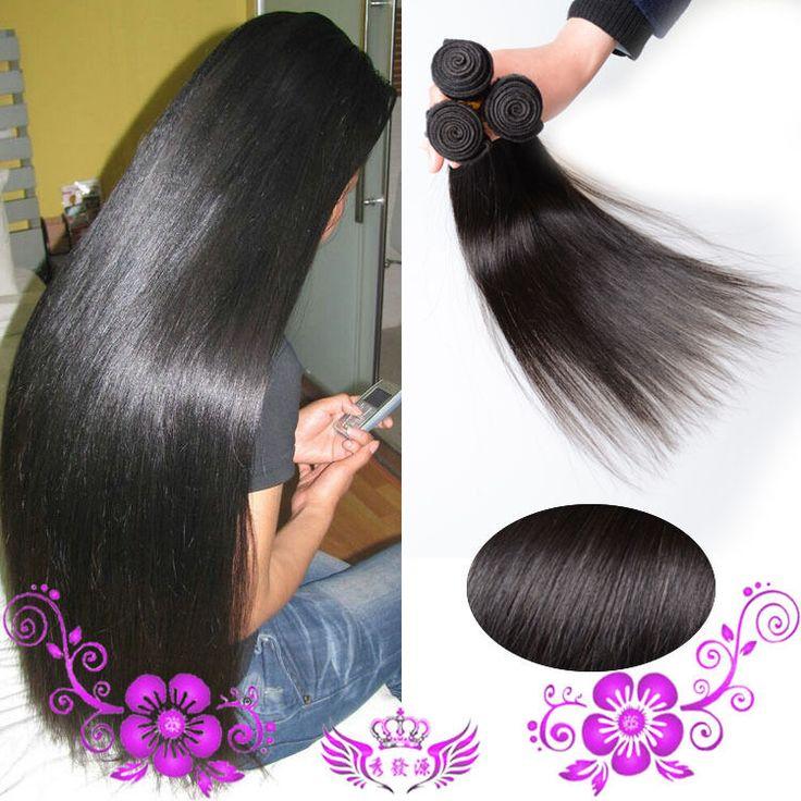 100% Virgin Brazilian Real Natural Black Human Straight Hair Extensions  #1Black