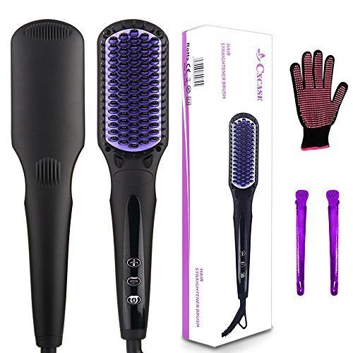 CXCASE Hair Straightener Brush MCH Ceramic Fast Heating with Heat Resistant Glove, Temperature Lock Function, Adjustable Temperature, Anti-Scald Ionic Hair Brush - Black. For product & price info go to:  https://beautyworld.today/products/cxcase-hair-straightener-brush-mch-ceramic-fast-heating-with-heat-resistant-glove-temperature-lock-function-adjustable-temperature-anti-scald-ionic-hair-brush-black/