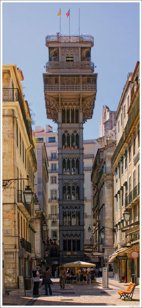 Santa Justa Lift, up the hill, Lisbon. PORTUGAL