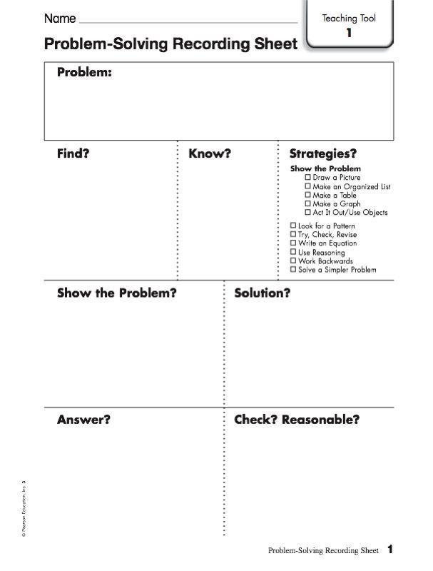 Problem Solving Sheet