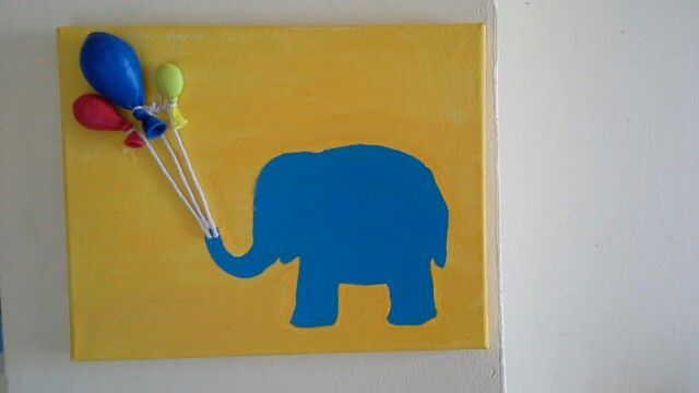 Καμβας με φιγουρα ελεφαντα τα μπαλονια τα εχω γεμισει με αλατι