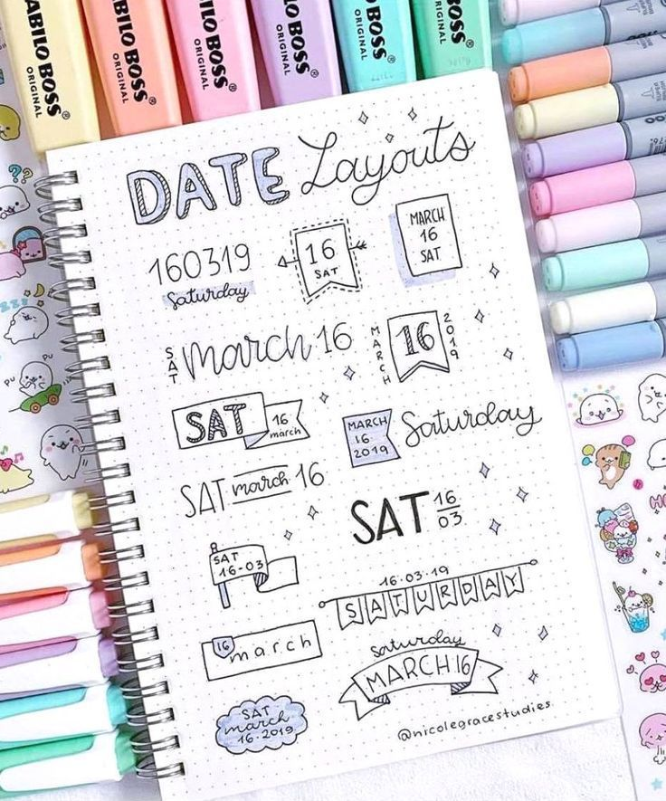date layout ideas for bullet journal –