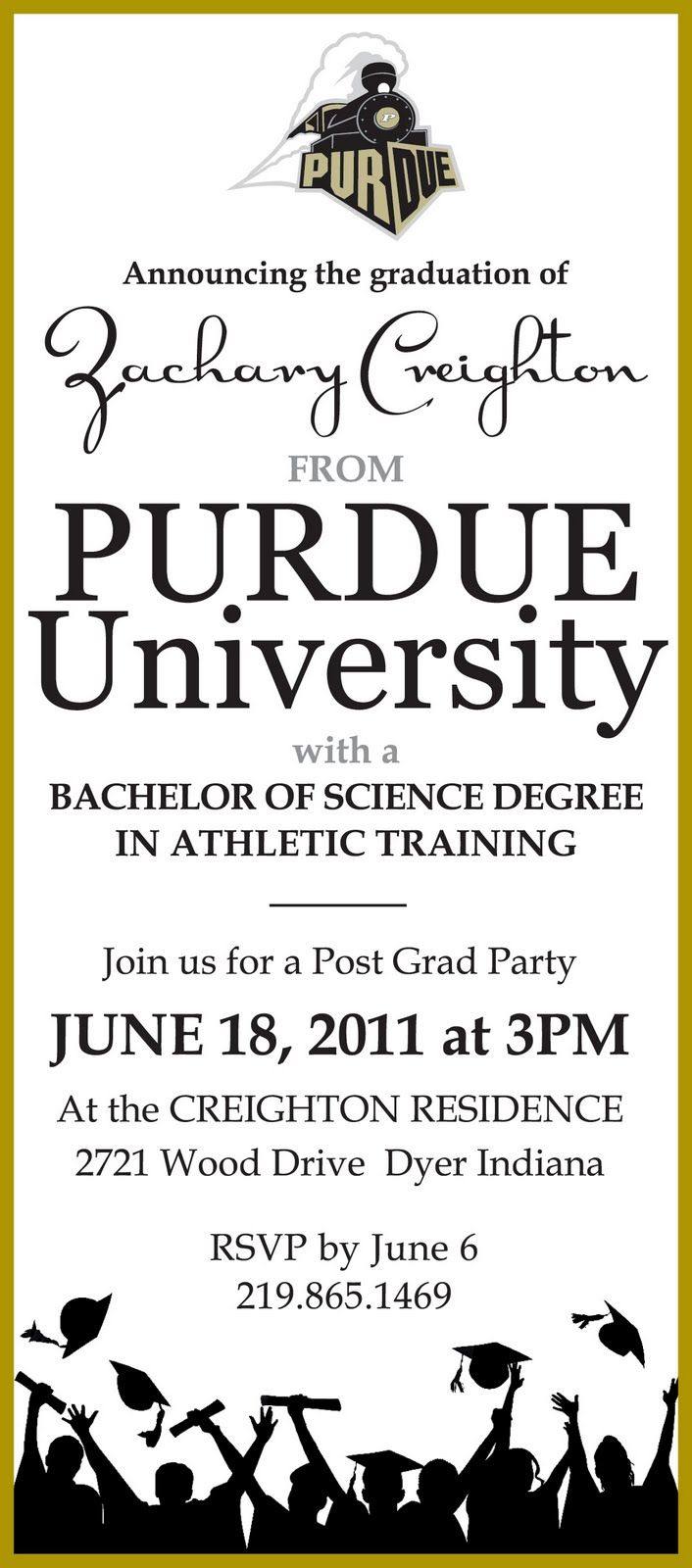 purdue logo graduation invitation | Purdue University graduation party invitation along with a High School ...