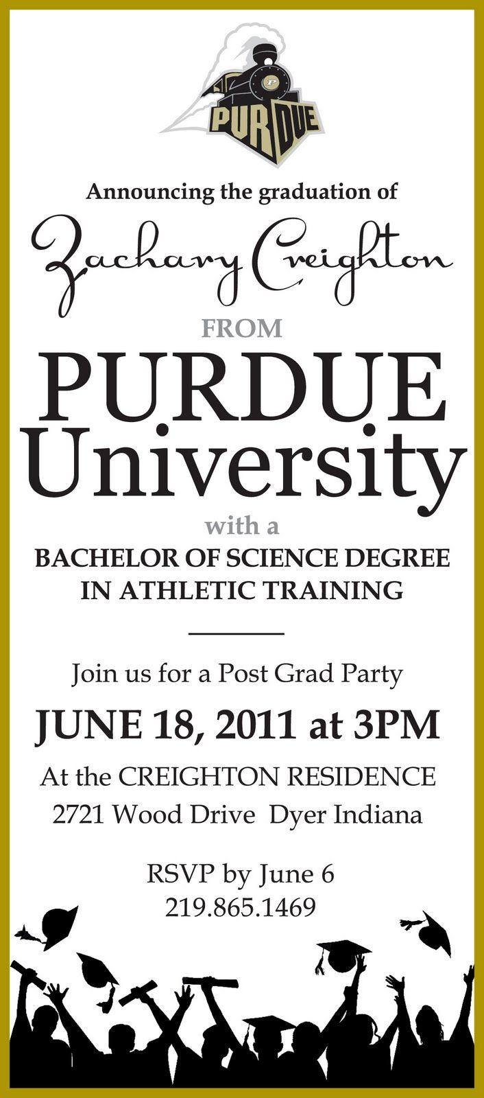 Color printing purdue - Purdue Logo Graduation Invitation Purdue University Graduation Party Invitation Along With A High School