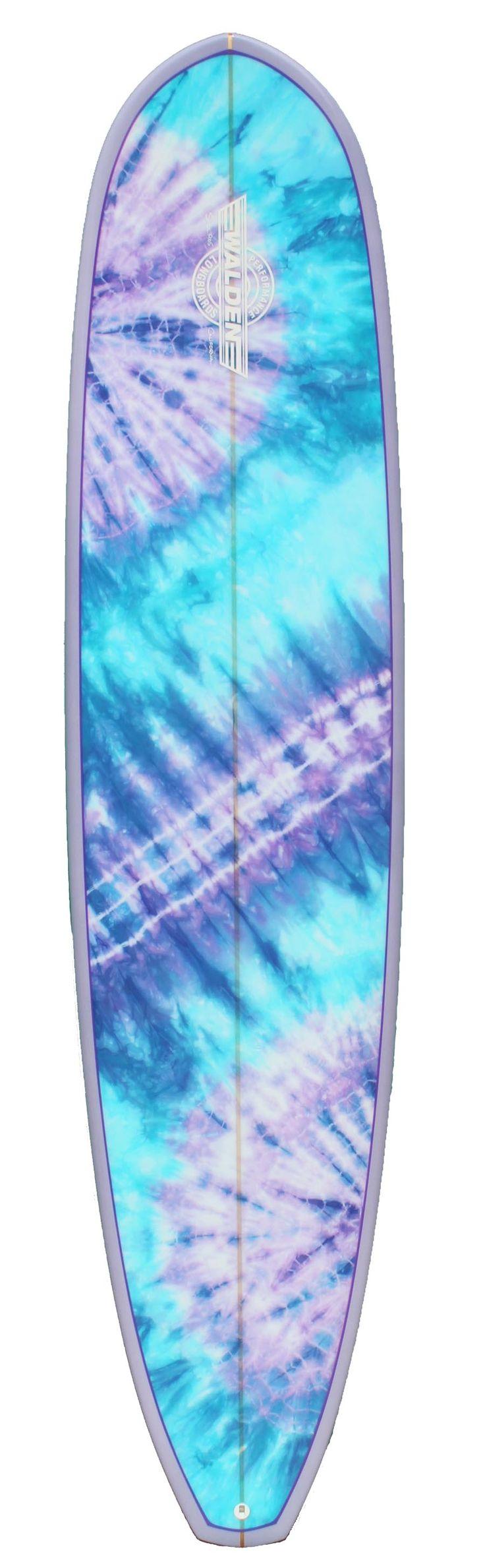 Pastel purple and blue tie dye surfboard