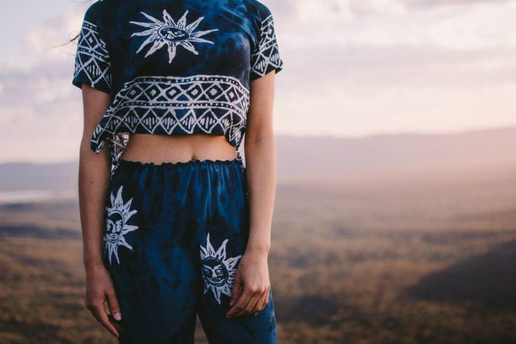 Her Pony tie dye celestial sun print festival inspired collection. Boho batik gypsy style clothing.