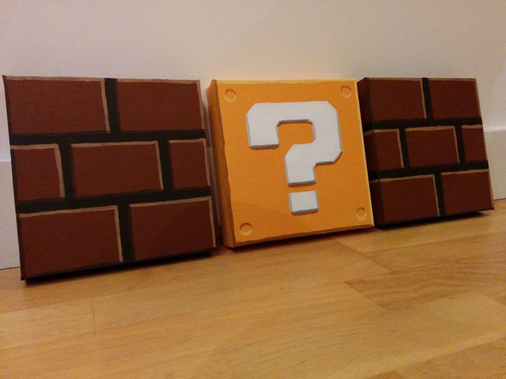 Painted Mario Block Canvases