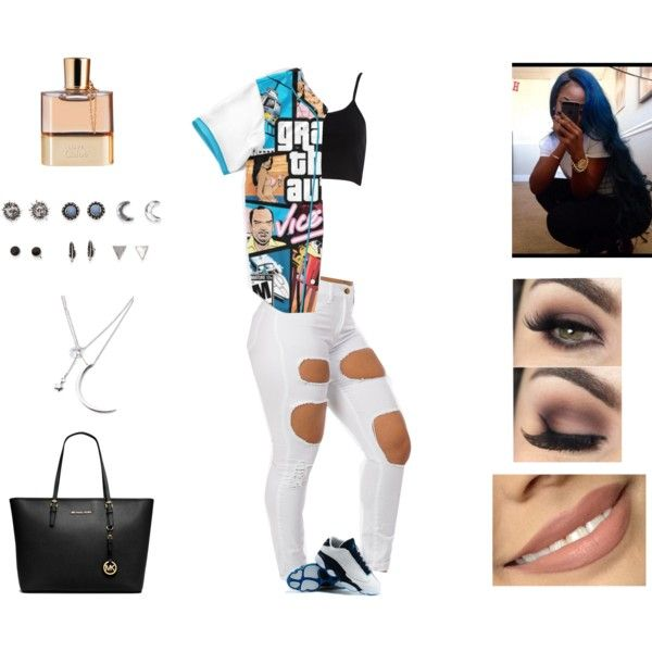 A fashion look from June 2015 featuring River Island tops, MICHAEL Michael Kors tote bags und With Love From CA earrings. Browse and shop related looks.