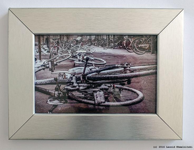 My photo  Bicycles in Snow  in Danish vintage metal frame
