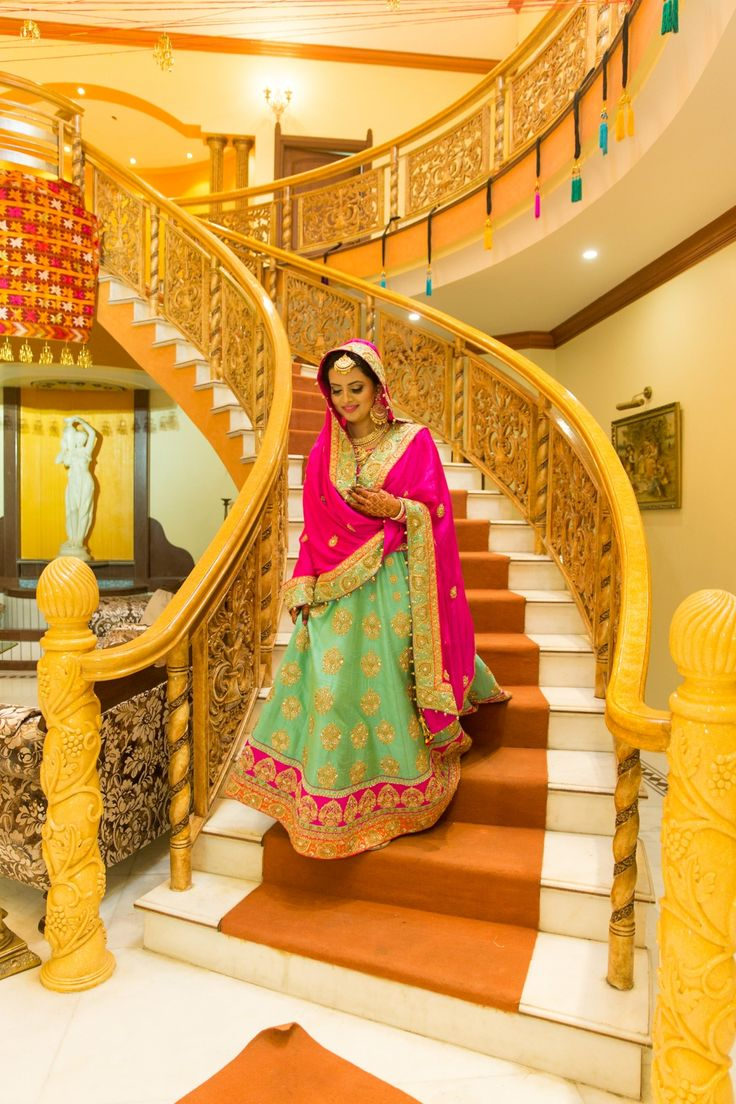 Gorgeous Indian Bride in Vibrant Pink and Green Lehenga
