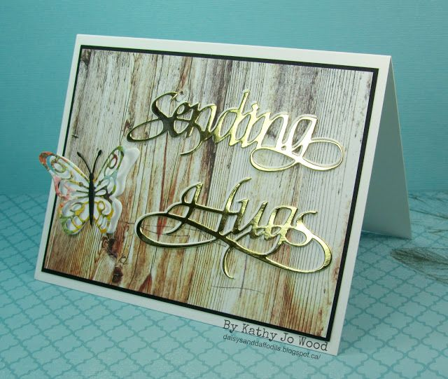 "New Elizabeth Craft Designs release- ""Sending Hugs"" butterfly card. Calligraphy by Suzanne Cannon."