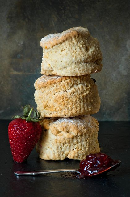 scones with strawberry jam.